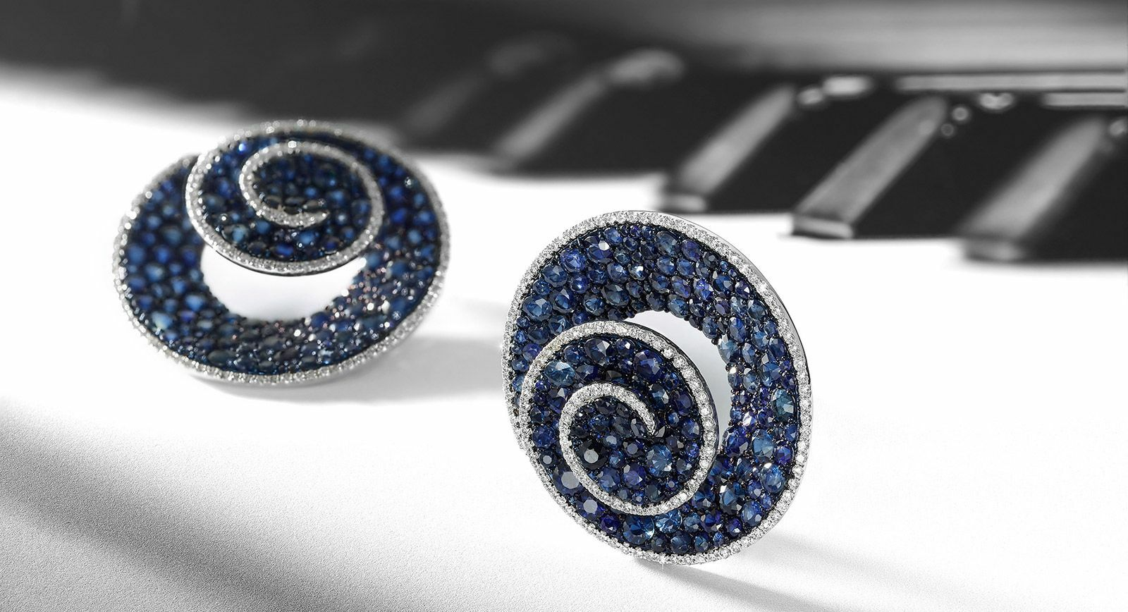 House of Umrao earrings with sapphires and diamonds