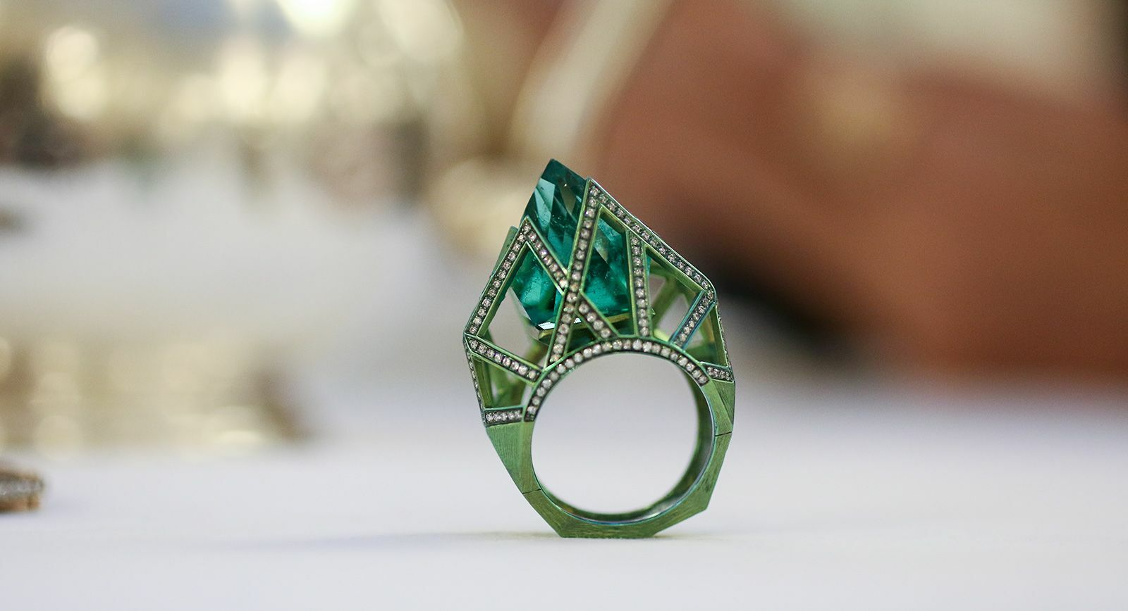 VMAR Orion emerald gemstone ring with diamonds in green titanium