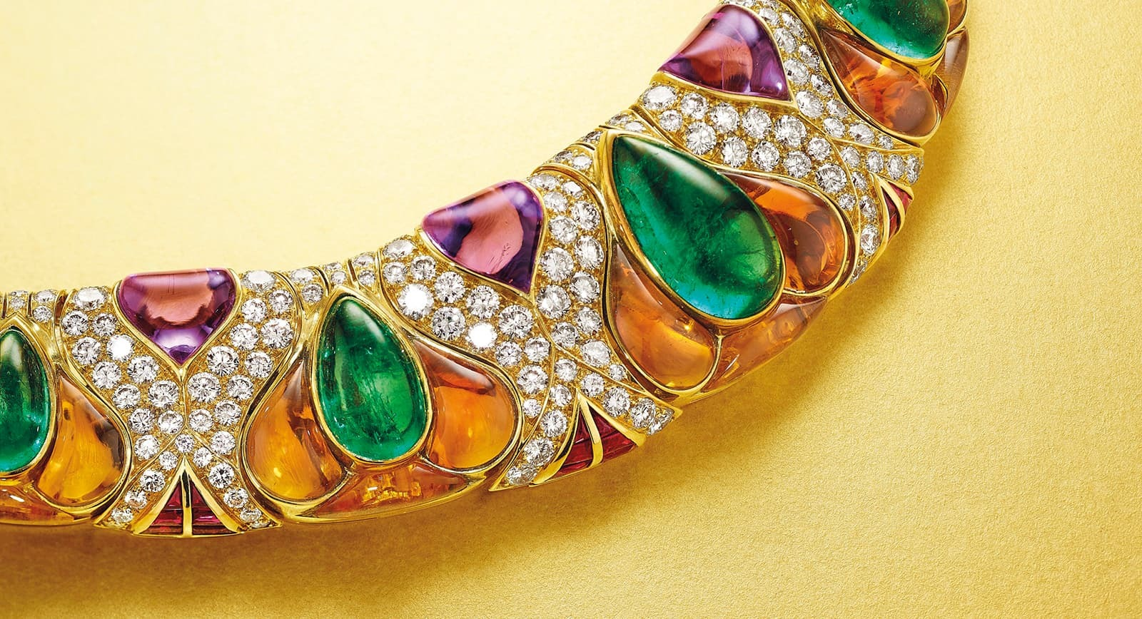 Bvlgari necklace with diamond and coloured gemstones that will be sold at Christie's auction in New York