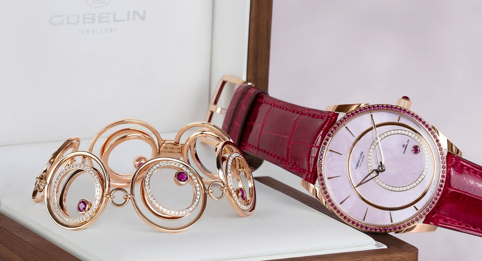 Bracelet and watch created in collaboration between  Gübelin Jewellery and Parmigiani Fleurier