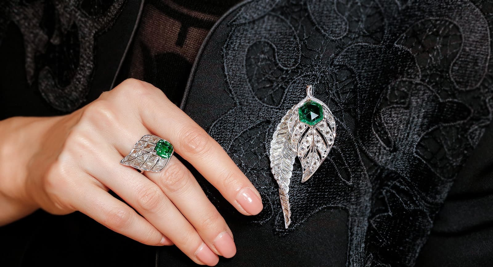 FORMS jewellery emerald and diamond ring and brooch