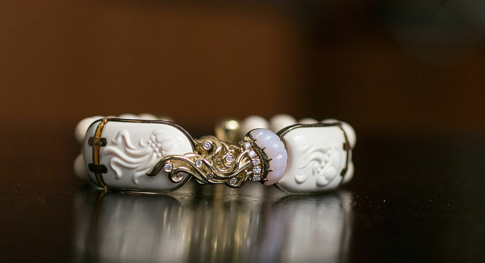 Notivory bracelet for ICHIEN with diamonds, chalcedony, mammoth tusk and yellow gold