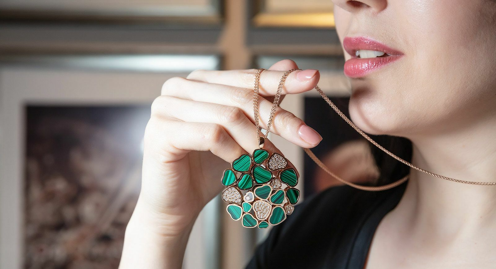 Chopard happy hearts malachite and diamond medallion pendant