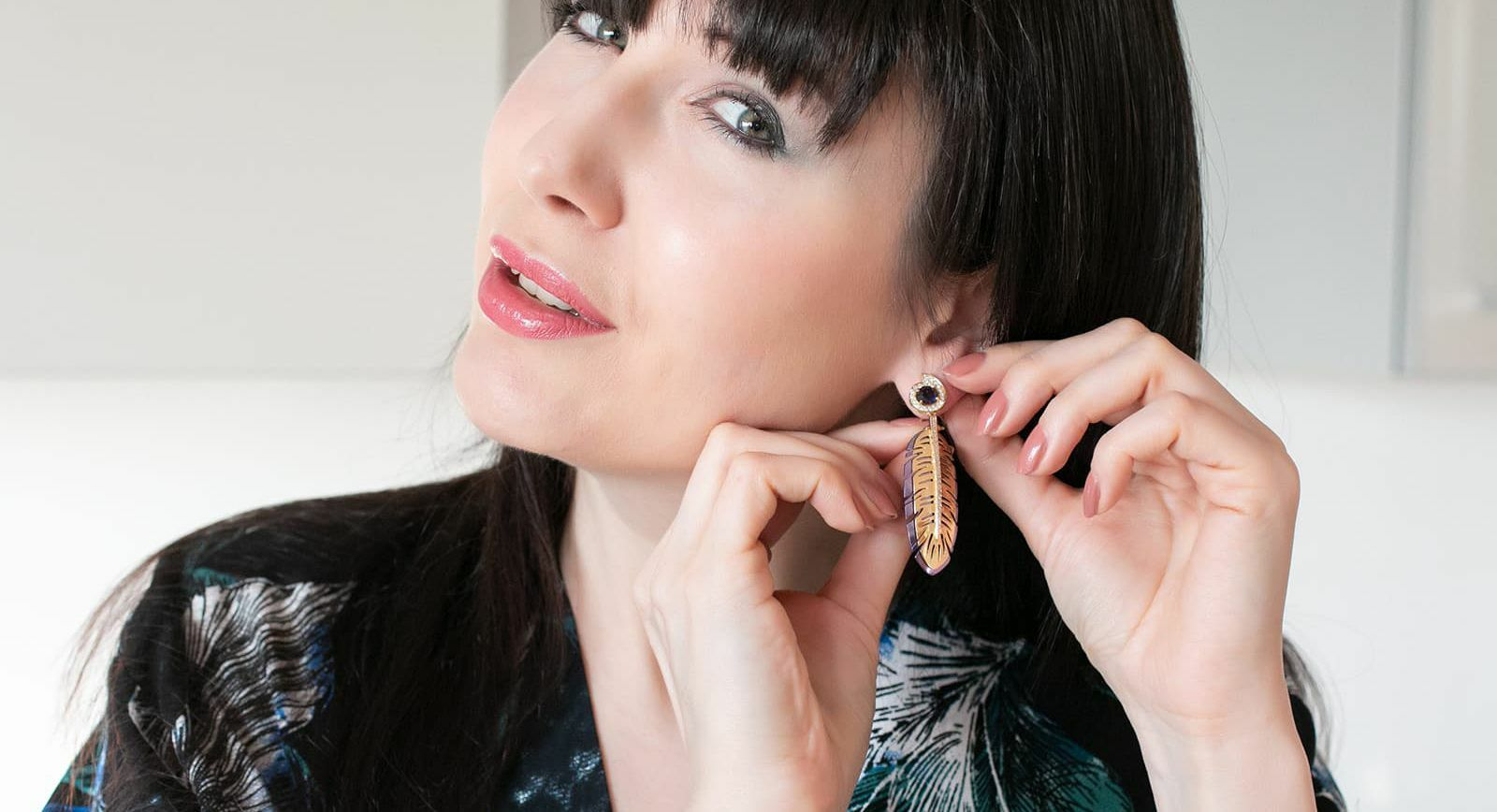 Katerina Perez wearing Carol Kauffmann's new Botanica collection earring