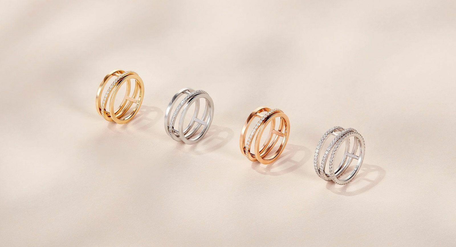 De Beers' new 'Horizon' collection rings in while, yellow and rose gold