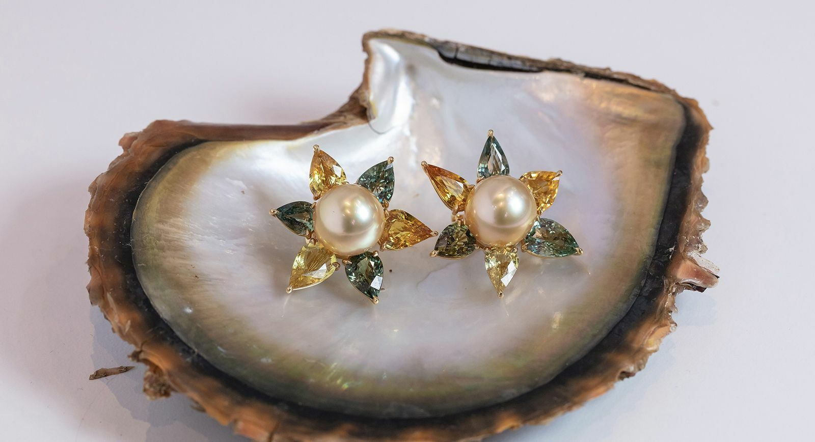 Assael golden pearl and gemstone earrings