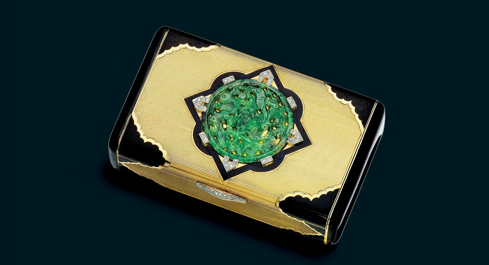 Art Deco Jade enamel and diamond cigarette cases by Cartier 1929