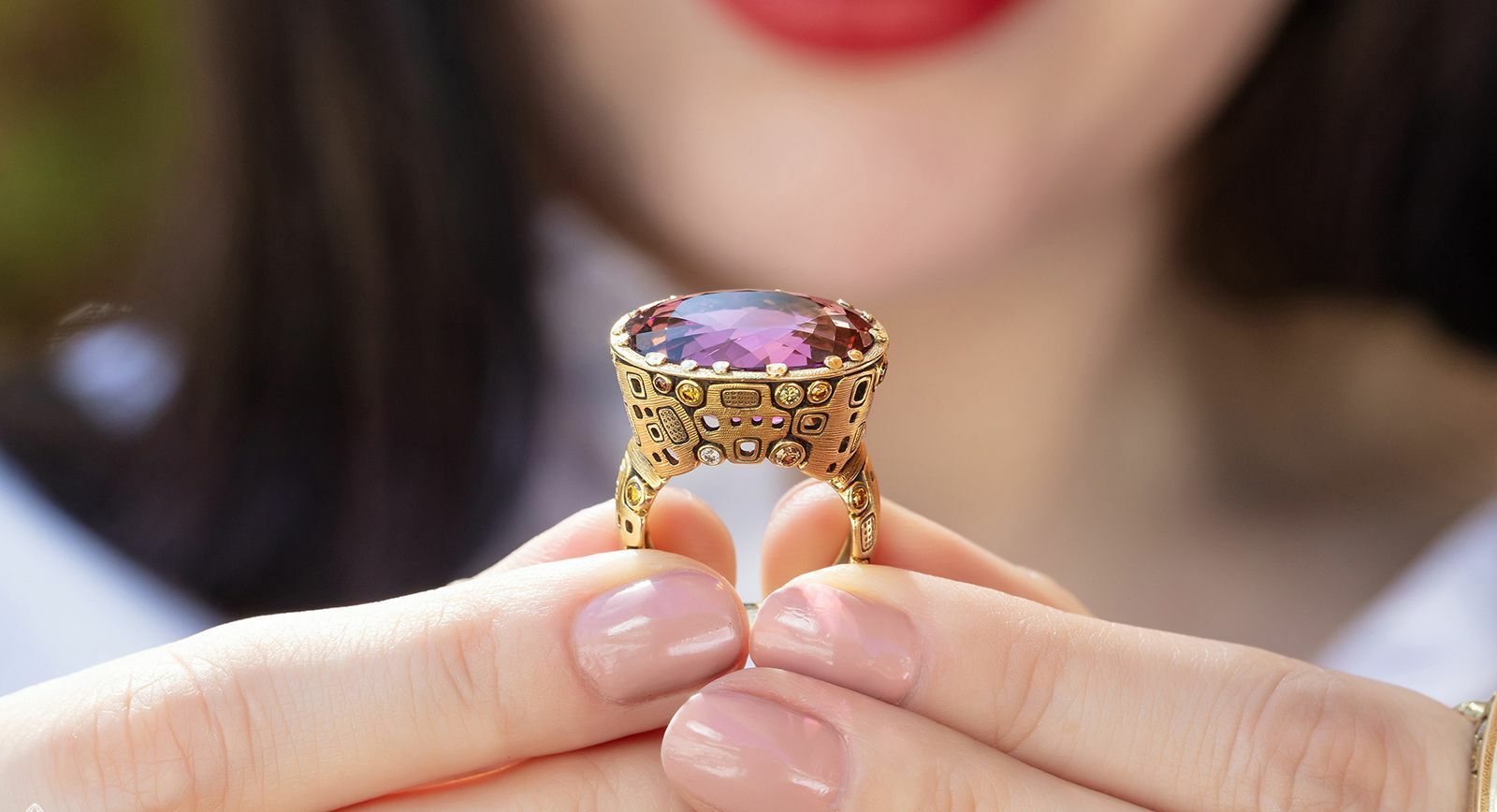 Alex Sepkus Little Windows ring with rubellite and gemstones in yellow gold
