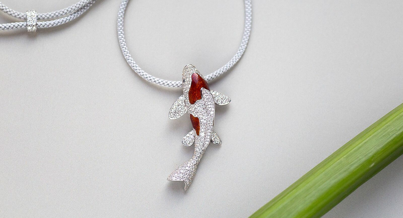 Ilgiz F Mysterious China diamond koi carp necklace