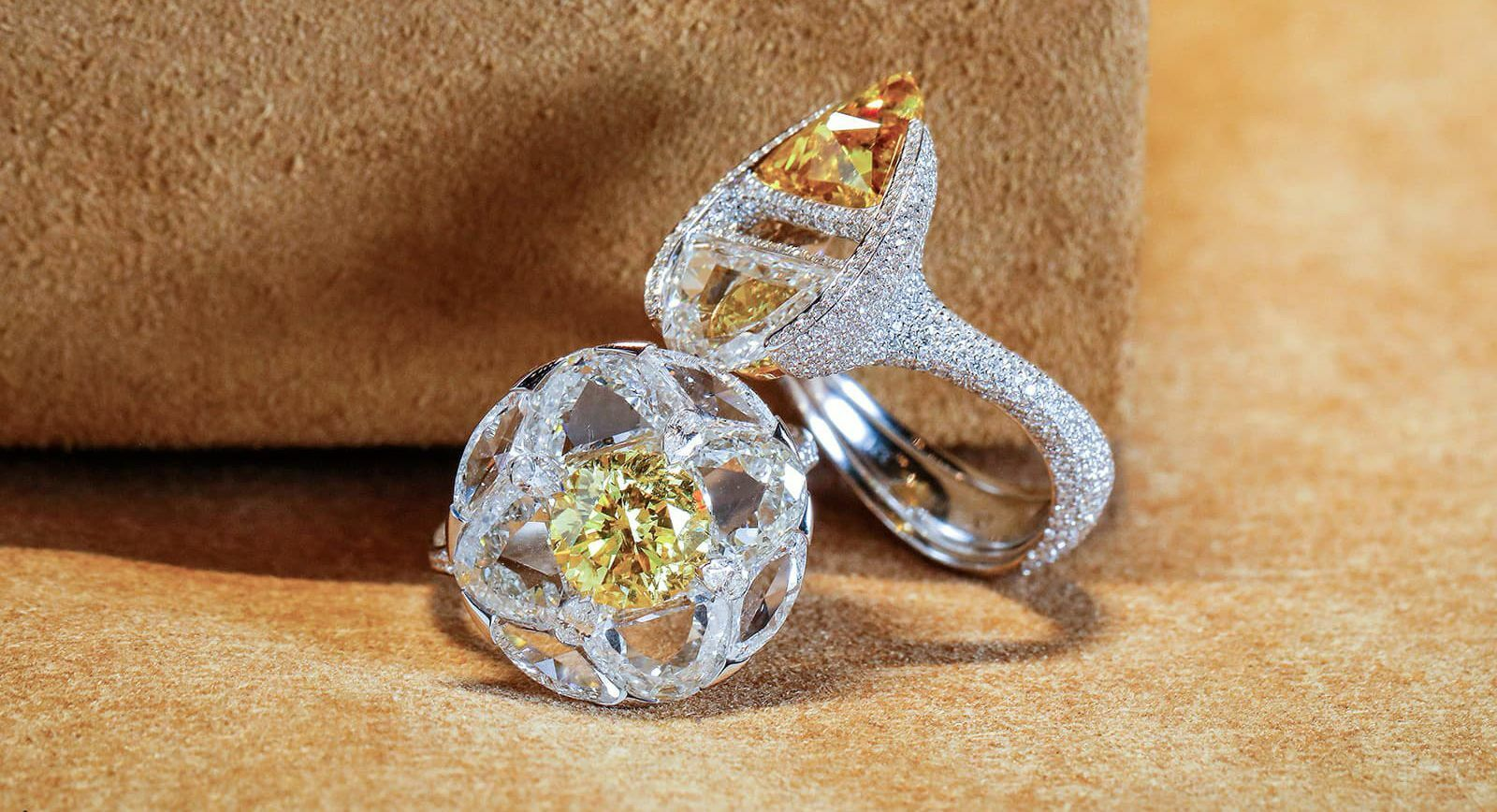 Boghossian floating diamond ring designs with yellow and colourless diamonds