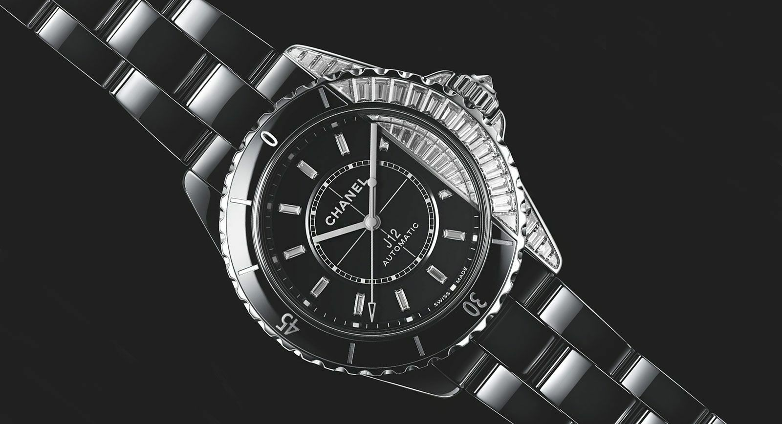 Chanel Watches 'J12 Paradoxe' with diamonds in black ceramic and white gold