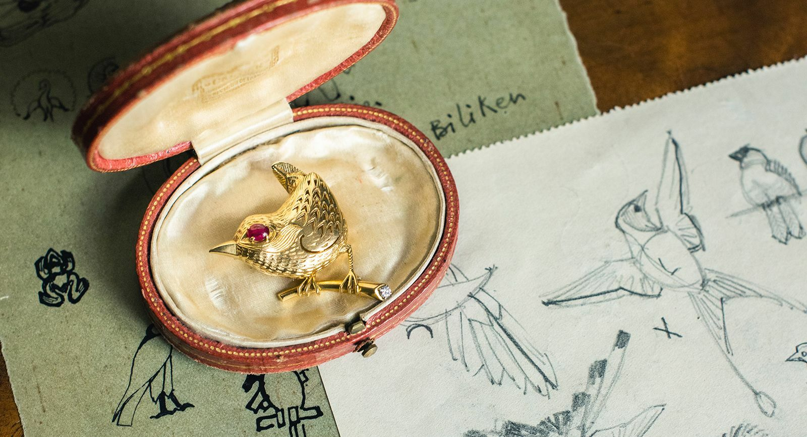 Cartier bird brooch with original archive sketches