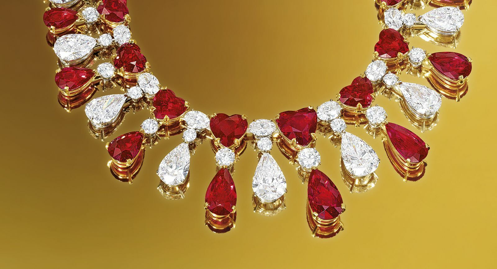 Ruby and diamond necklace by James W Currens for Faidee