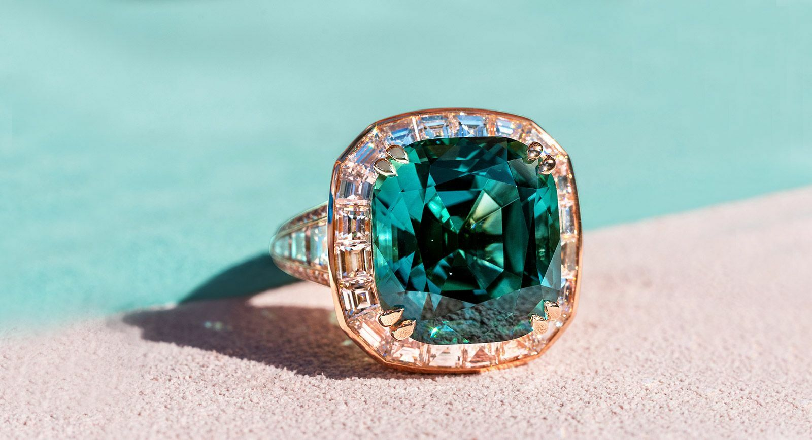 Madly lagoon tourmaline and diamond ring