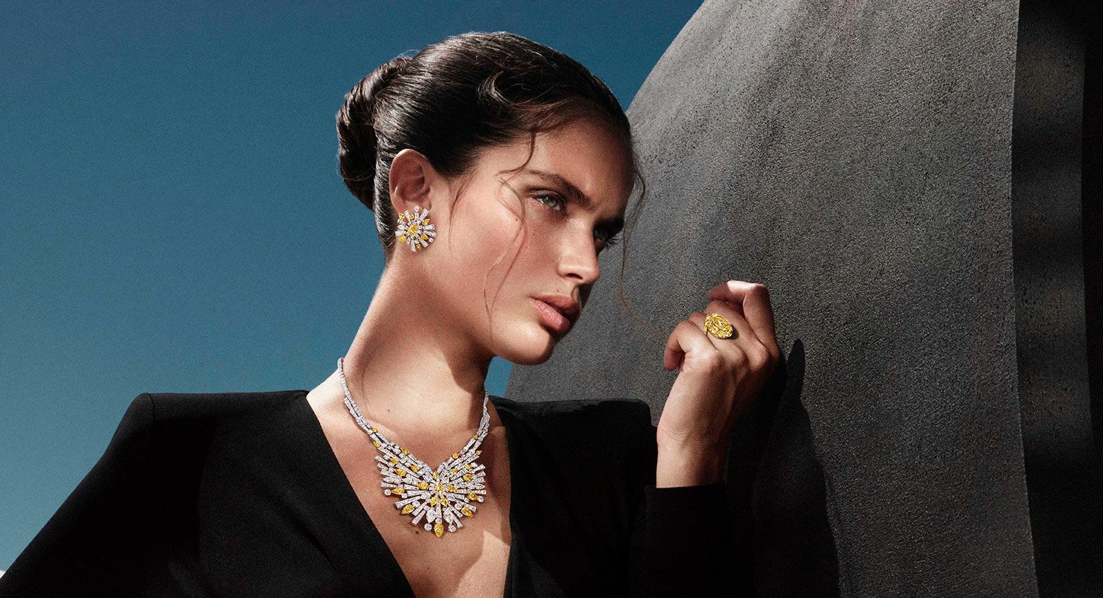 Graff Tribal High Jewellery Collection including a yellow and white diamond necklace of 65 carats