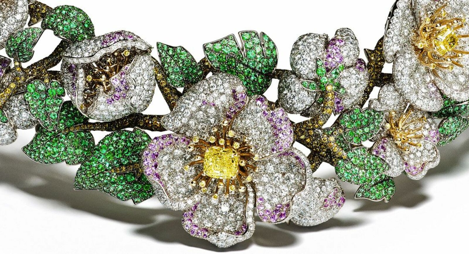 Giampiero Bodino's Primavera necklace blossoms with apple-tree flowers
