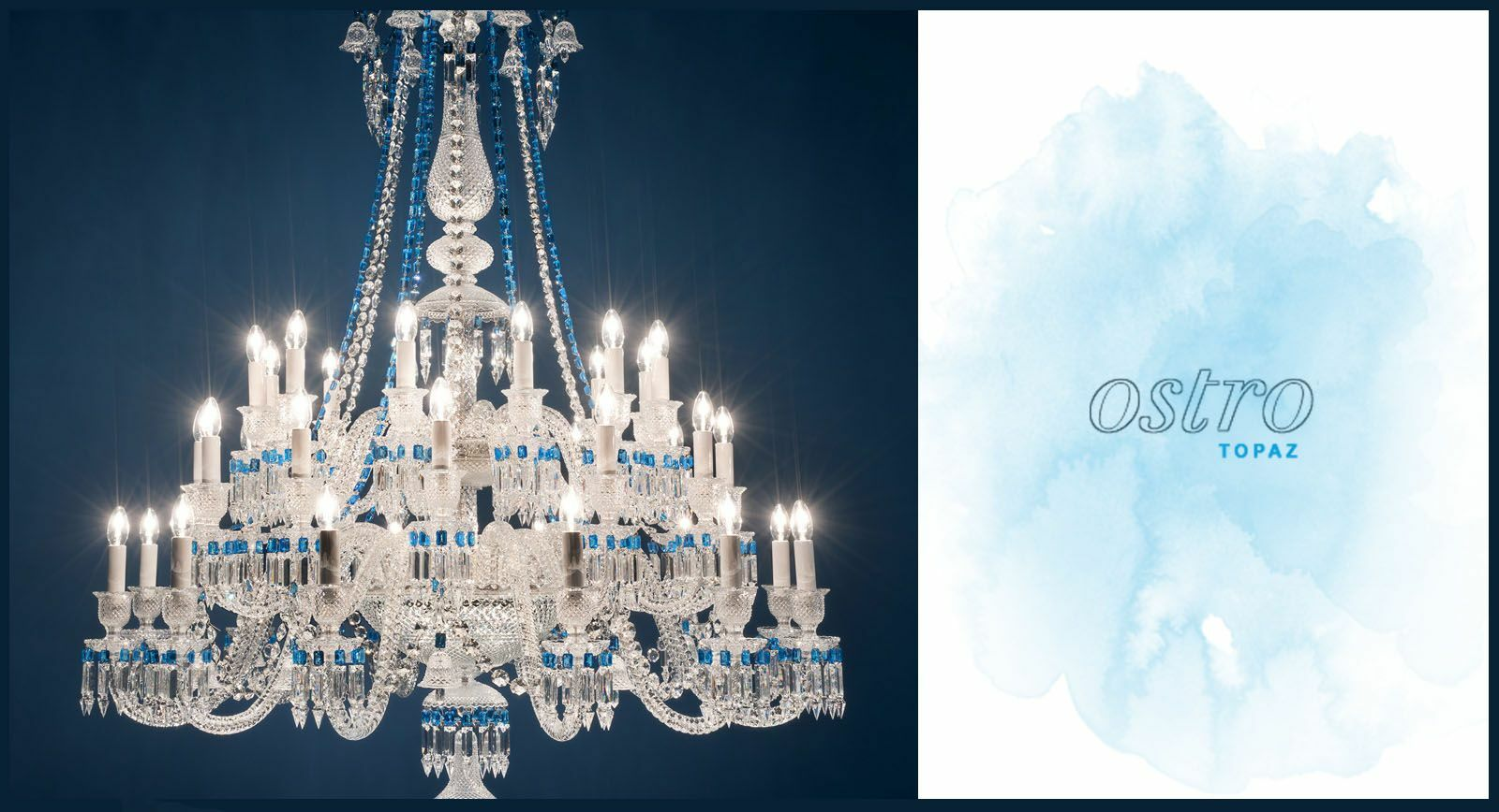 Gemstones and Crystals Shine as One in Blue Topaz Chandelier