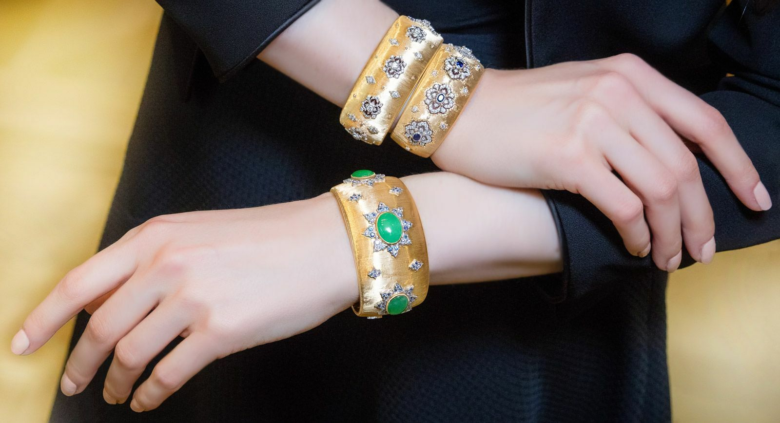 Buccellati cuff bracelets in white and yellow gold