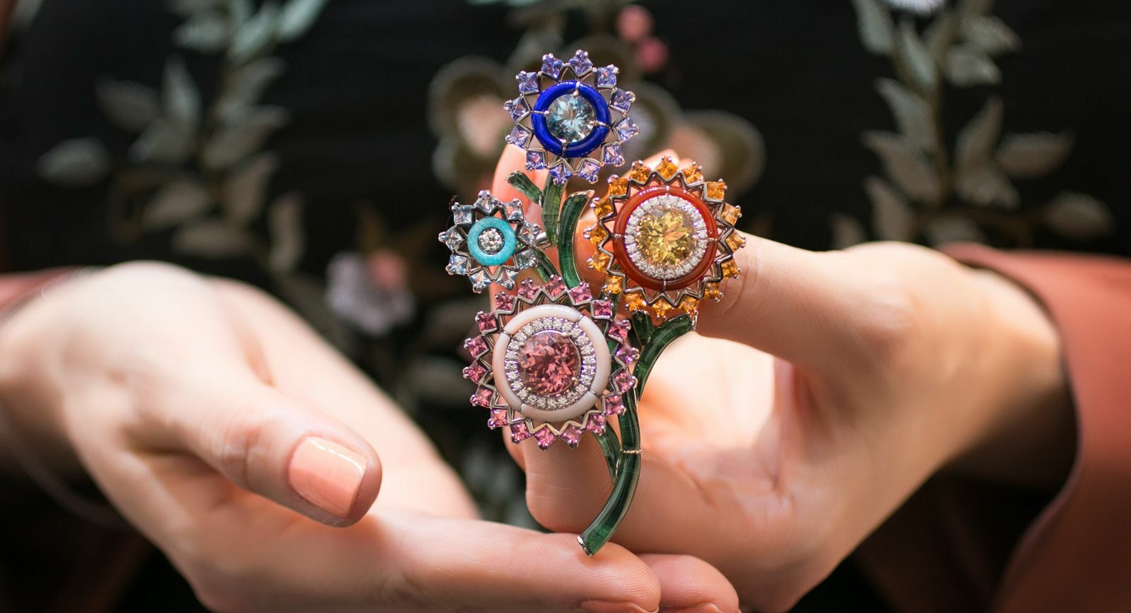Carlo Barberis flower gemstone brooch