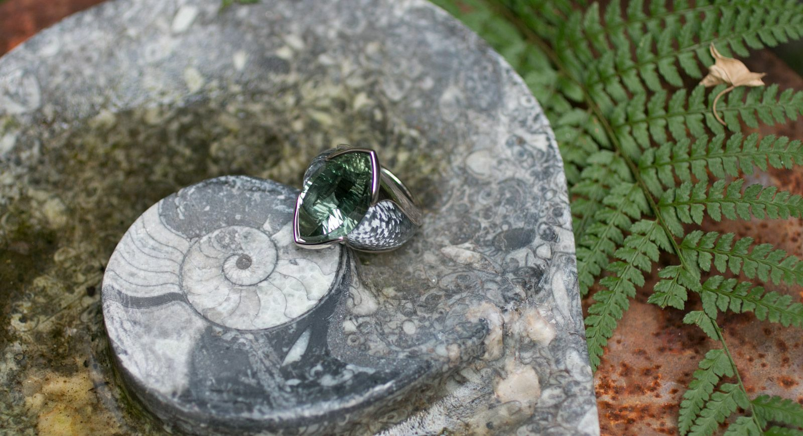 Philippe Pfeiffer Ring in White Gold and Alutex with 29ct Prasiolite