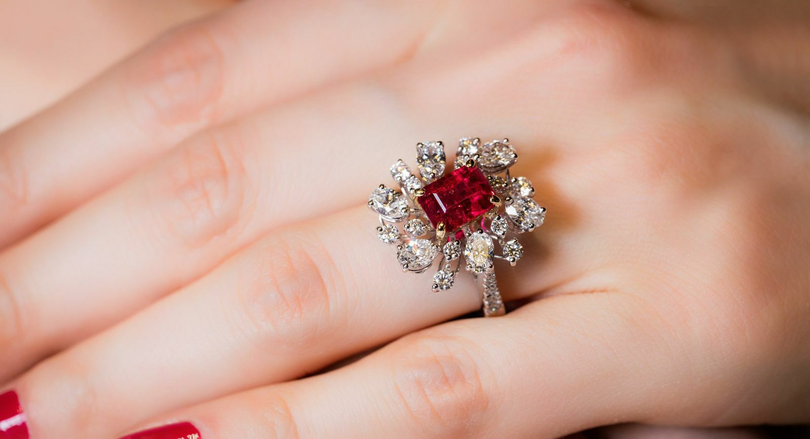 Caratell bixbite ring with red beryl and diamonds