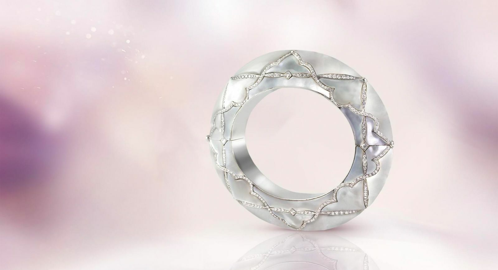 Boghossian cuff bracelet with mother-of-pearl and diamonds