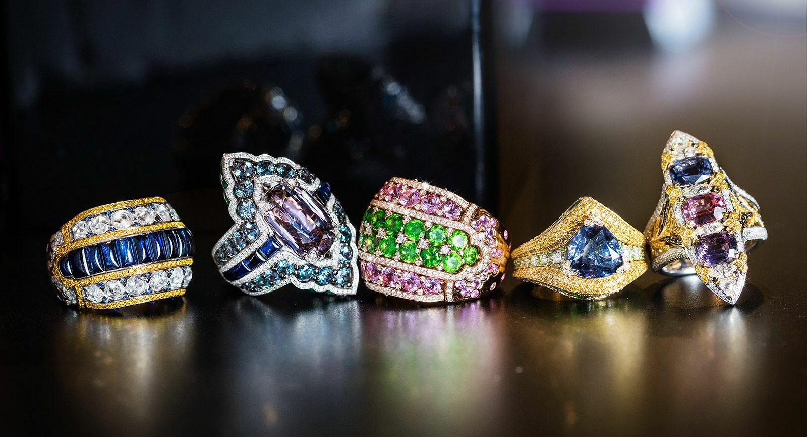 Alessio Boschi 'Peacock Dance' collection rings