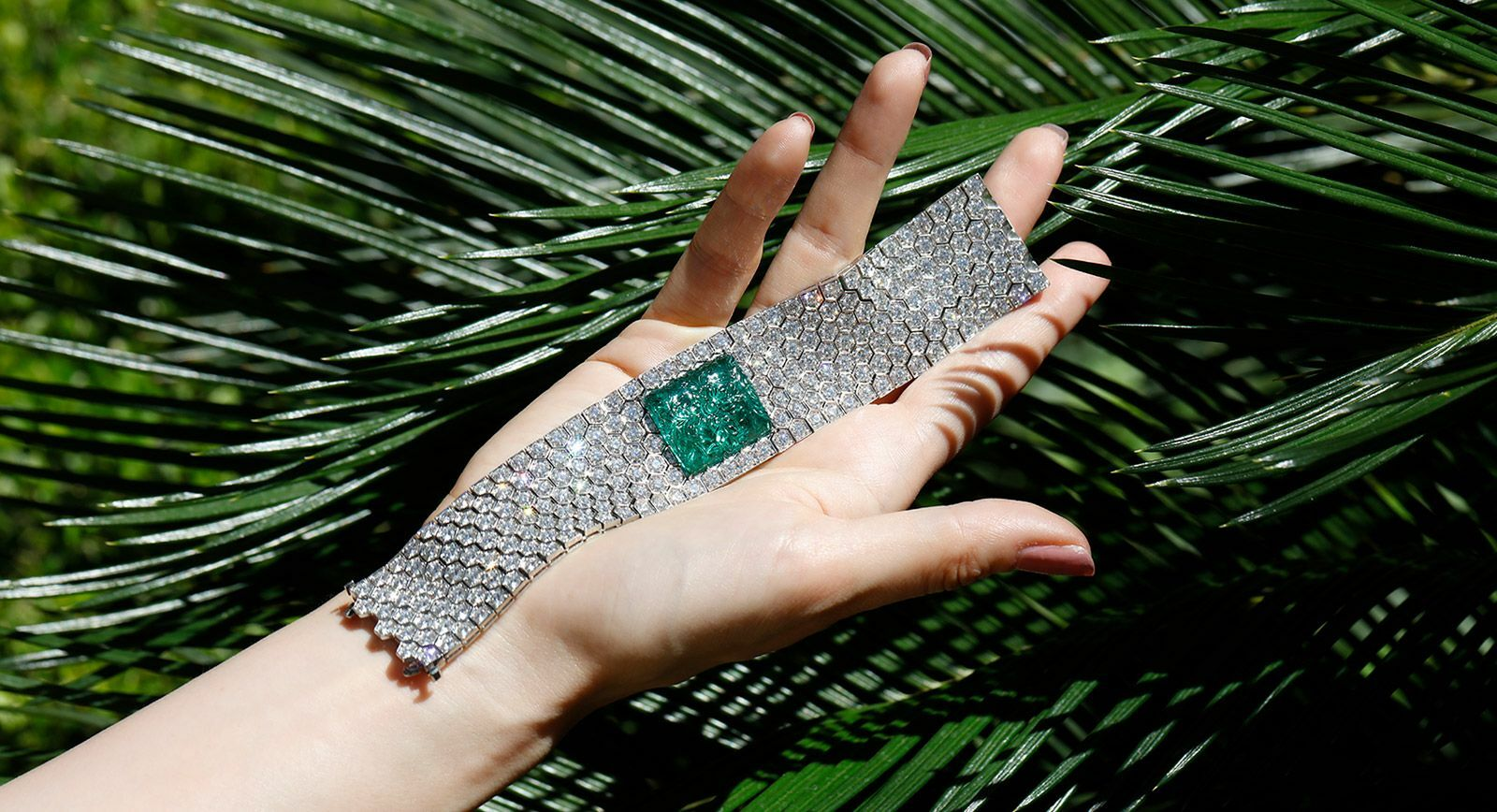 Bayco bracelet with carved Zambian emerald and diamonds