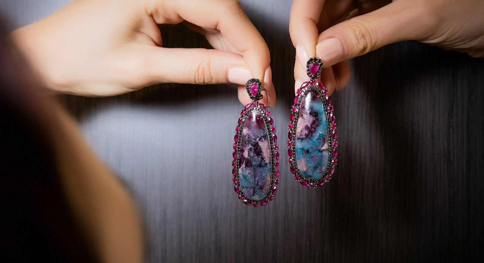 Graziela earrings with Paraiba tourmaline slices and rubies