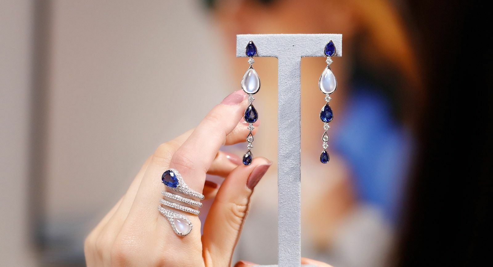 Maria Canale Drops earrings and ring with sapphires, moonstone and diamonds