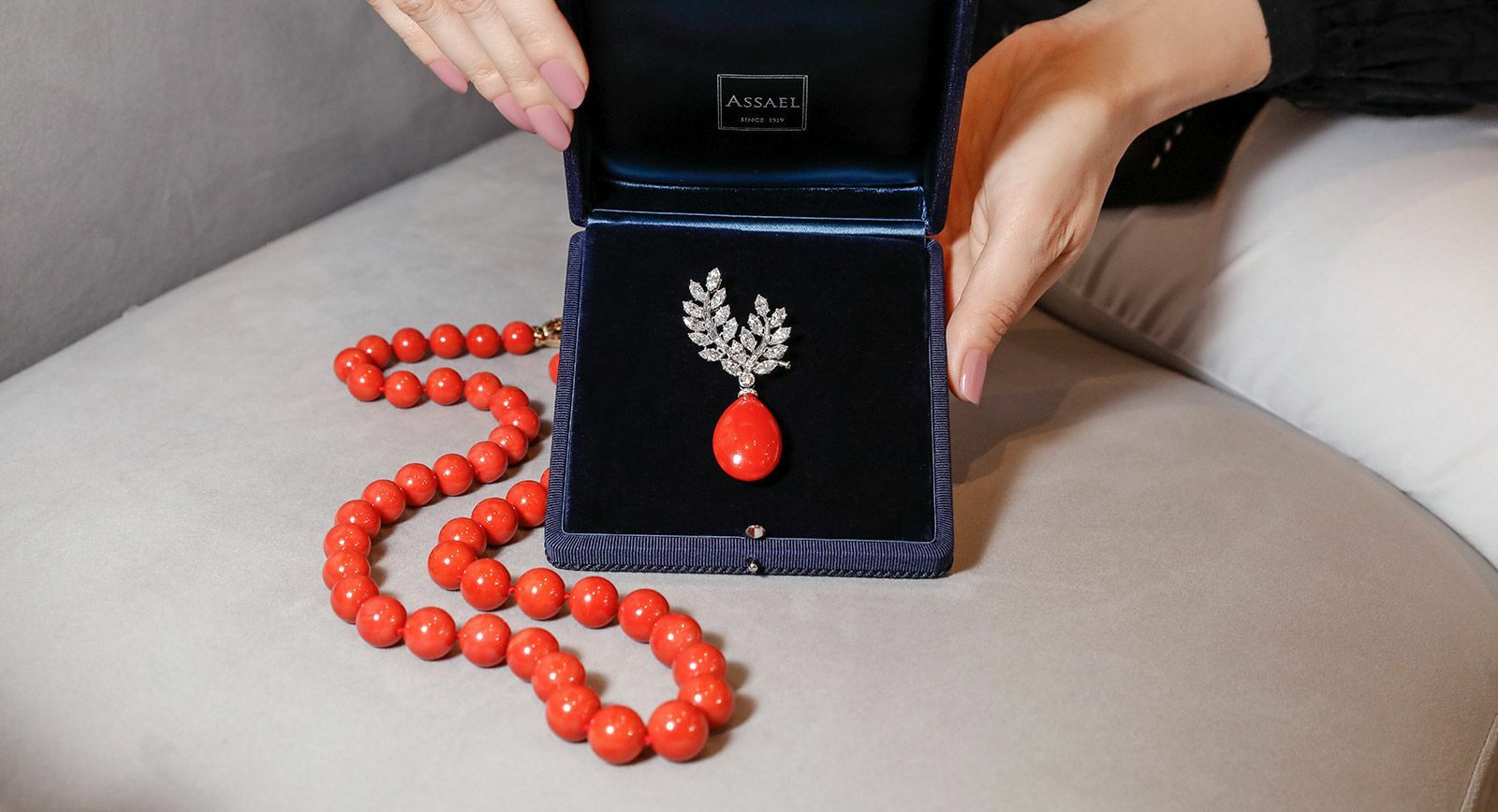 Assael Oxblood coral jewellery