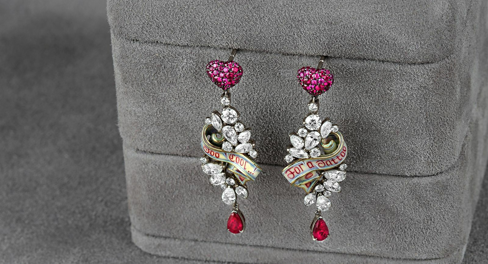 Liza Borzaya earrings with diamonds, rubies and enamel