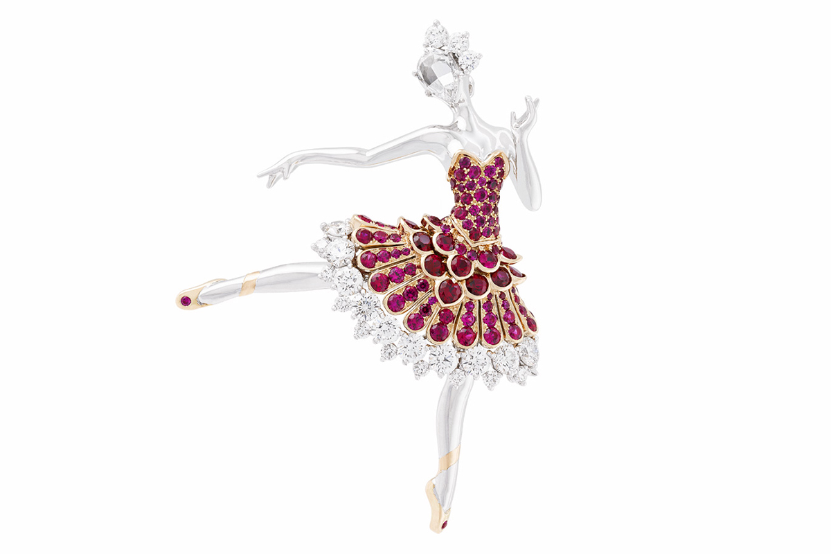 Van Cleef&Arpels Ballerine brooch with rubies and diamonds