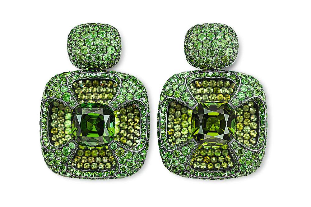 Hemmerle earrings with tourmalines and demantoid garnets set in silver and white gold