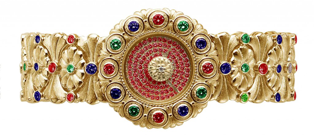 Buccellati watch in yellow gold with rubies, tzavorites and sapphires