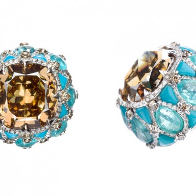 Earrings wih champagne diamonds inlaid into turquoise and Paraiba tourmalines