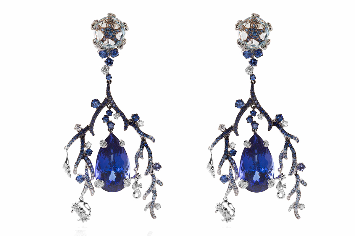 Coralia Tanzanite Earrings by Alessio Boschi