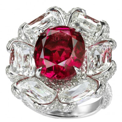 Non-heated Burmese ruby and diamond flower ring