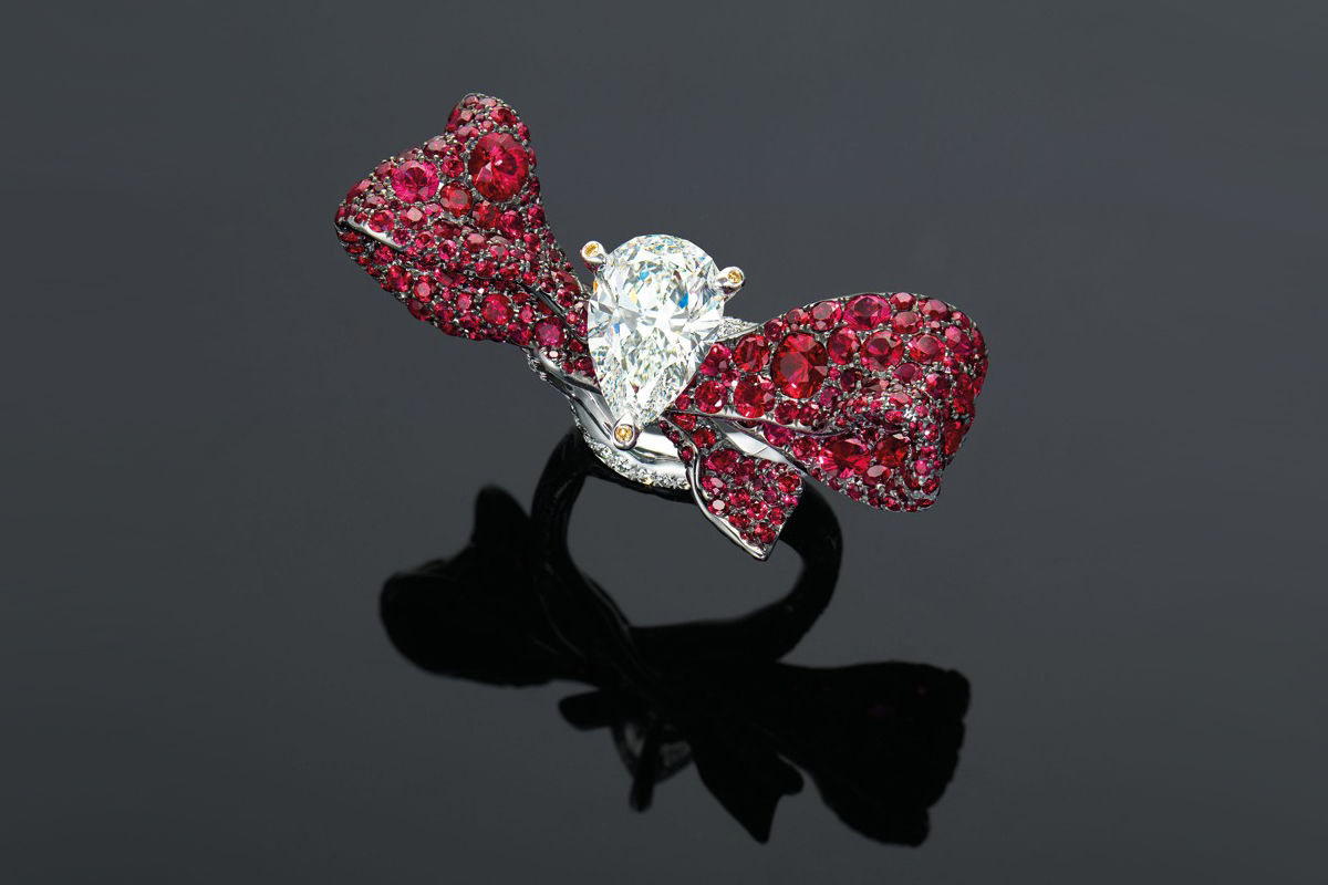 Cindy Chao's diamond, ruby and coloured diamond ring