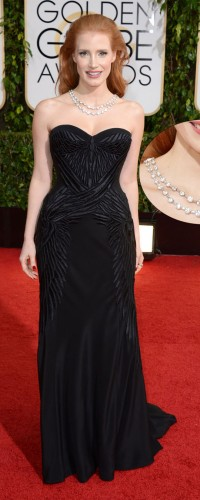 Jessica Chastain wearing an elegant diamond necklace by Bulgari