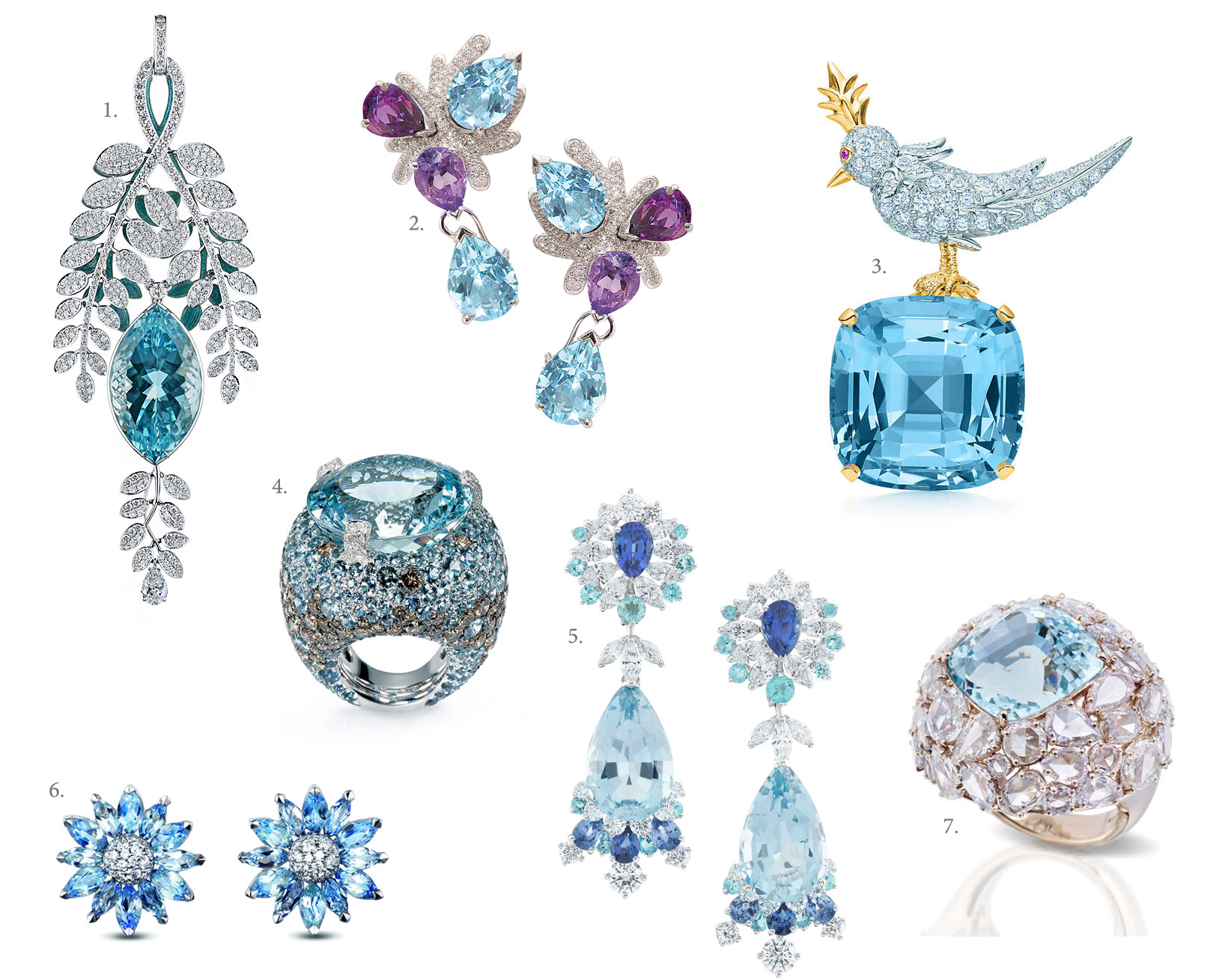 1. Ilgiz F. Aquamarine pendant with diamonds 2. Mathon Paris Coral earrings 3. Tiffany&Co Bird on a Rock clip with a 41.66 cts aquamarine 4. de Grisogono Melody of Colours Aquamarine ring 5. Van Cleef&Arpels Peau d'Âne collection aquamarine earrings 6. Asprey Daisy Heritage Aquamarine earrings 7. Pomellato Pom Pom ring