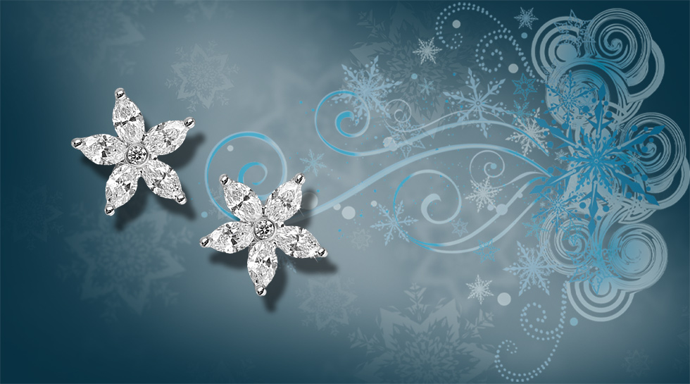 White Marquise and brilliant cut Diamond Illusion set star studs £2,500 set in 18K white gold