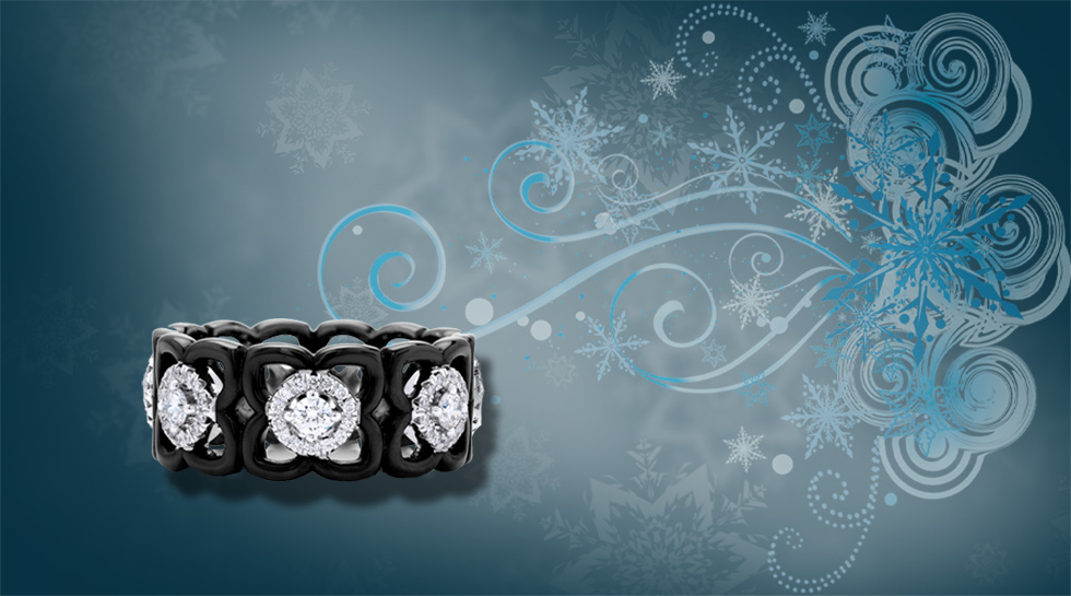 Moonlight Lotus Band with white diamonds, set in 18K white gold and black ceramic – £3,225