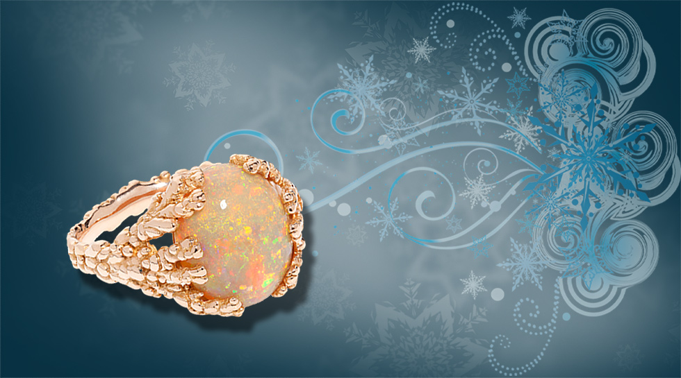 """Fiery Coral Atoll"" in 18k rose gold and a rare fire Wello opal – £4,800"