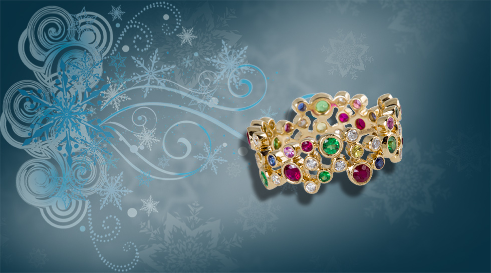 Kaleidoscope Ring with diamonds, pink, yellow and blue sapphires and rubies – £2,950