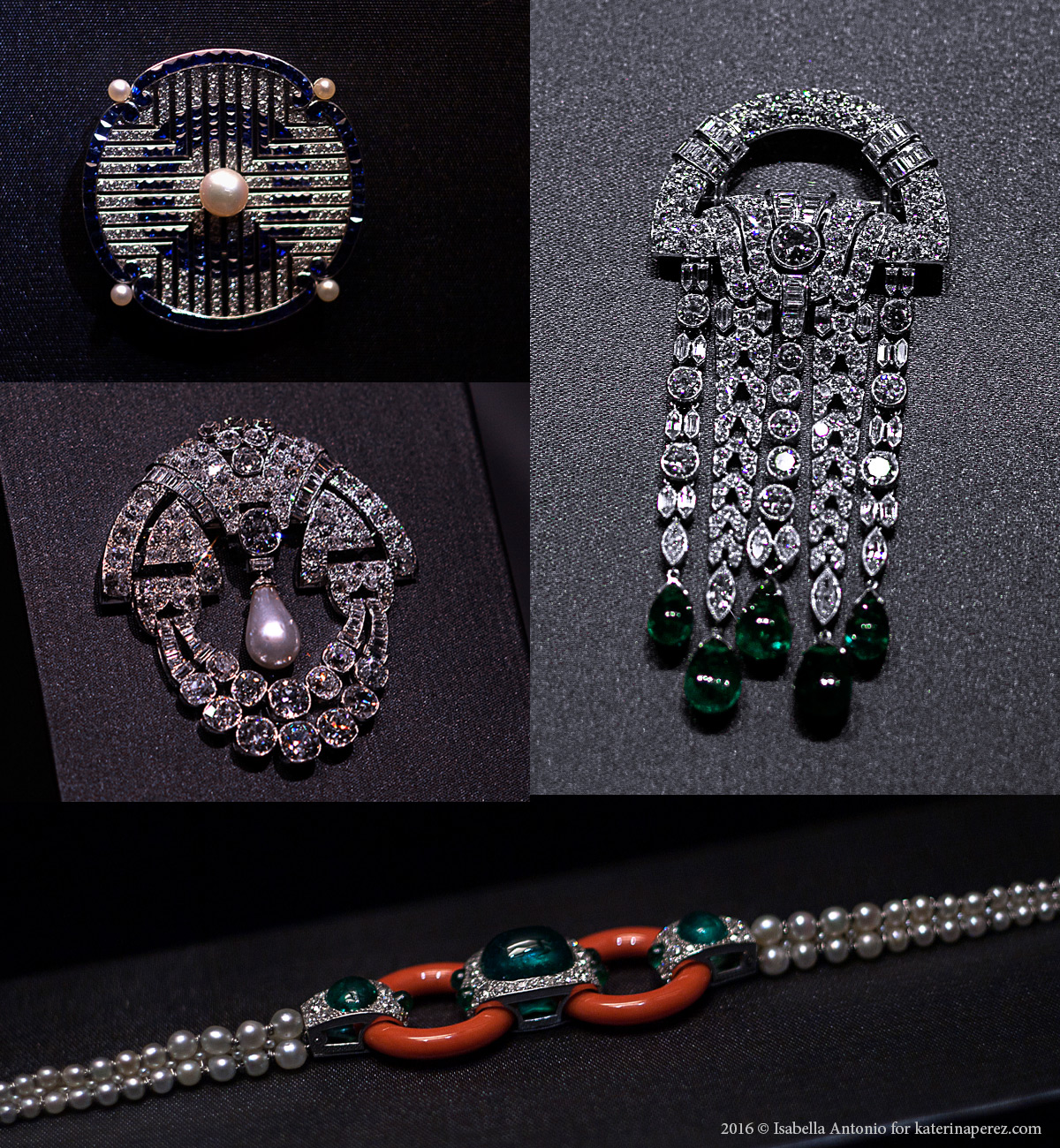 Left bottom – Art Deco clip, circa 1930. Platinum, natural pearl, diamonds; Right top – Art Deco clip, 1928. Platinum, emeralds, diamonds