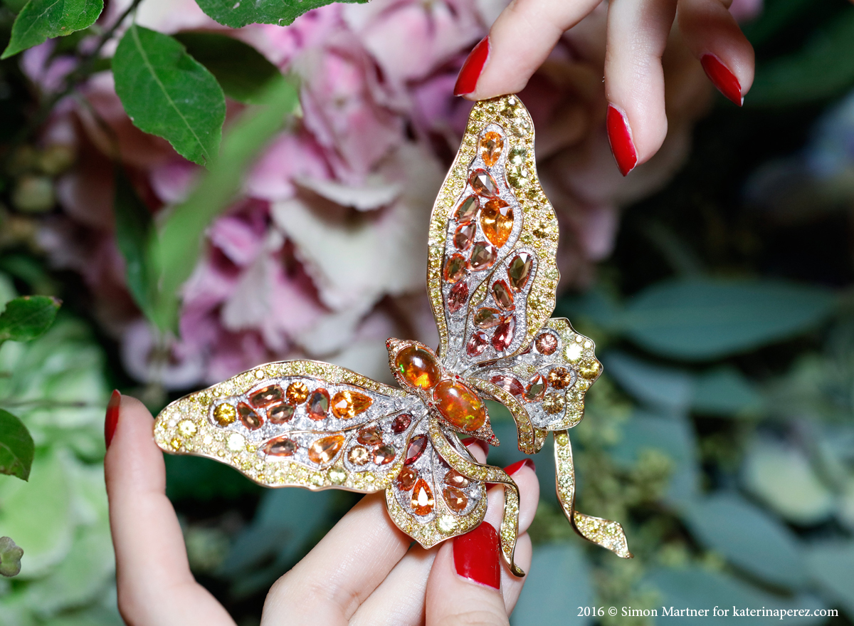 Anna Hu Victoria butterfly brooch with opals, sapphires, garnets and diamonds