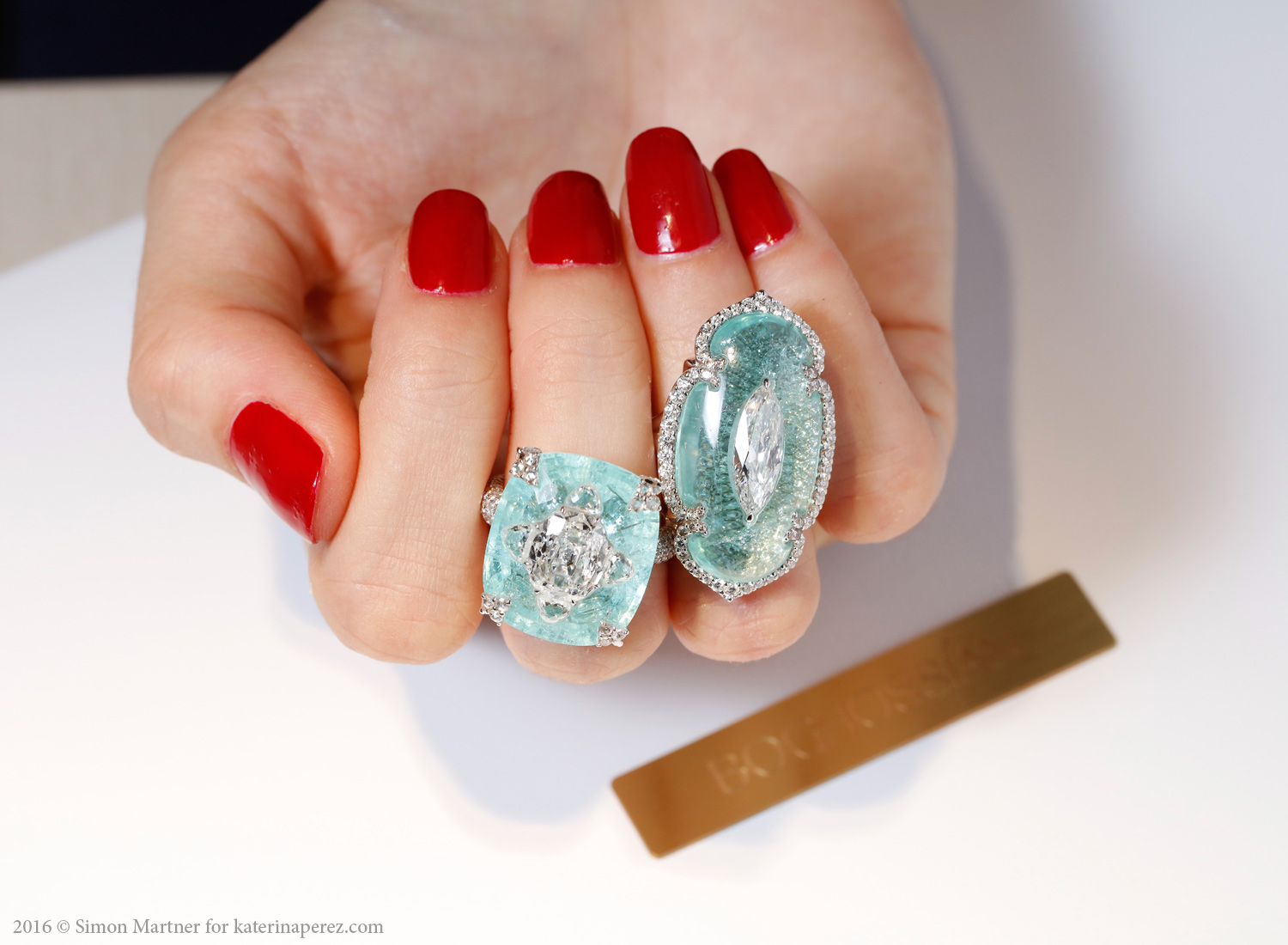 Boghossian rings with paraiba tourmalines and diamonds