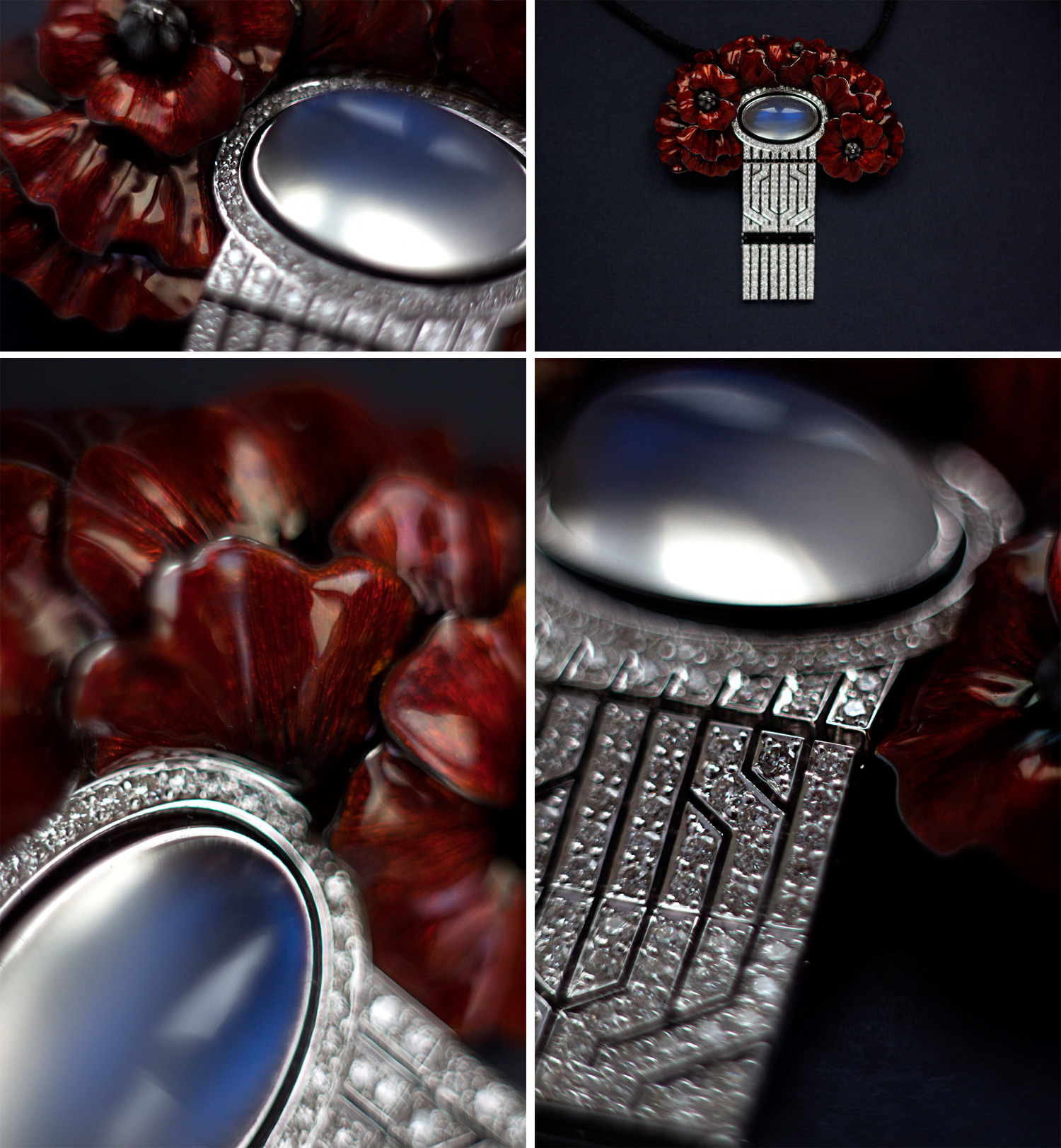 "Ilgiz Fazulzyanov ""Poppy"" pendant with moonstone, diamonds and enamel"