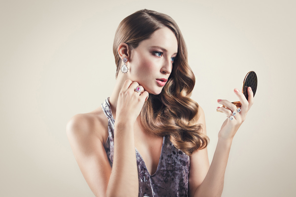 Nadine Aysoy Tsarina collection rings and earrings with pearls and diamonds